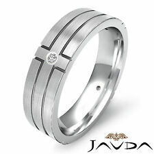 Round 4 Bezel Diamond Ring Mens Eternity Wedding Solid Band Platinum 950 0.30Ct