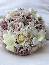 IVORY CREAM MOCHA CHAMPAGNE ROSES  ORCHID VINTAGE BRIDES BOUQUET WEDDING FLOWERS