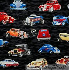 BonEful Fabric FQ Cotton Quilt Black Red Fire VTG Antique Car Classic Street Rod