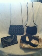 4 Lot VTG Black Velvet Satin Metallic Bead Embroider Cord Strap Clutch Purse Bag