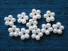 10 CREAM OR WHITE PEARL RINGS/CIRCLES  FLAT BACK  DIY BULK
