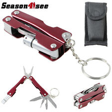 Mini Foldable Portable Multi-function Tool Pliers Knife Saw & LED Light Pouch
