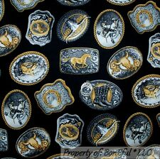 BonEful Fabric Cotton Quilt Black Gold Silver Cowboy Horse Old Belt Buckle SCRAP