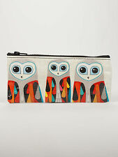"Blue Q ""Hoo's Next"" pencil case artsy owls bag eco recycled by Inaluxe"