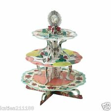 New wedding pastries pearls 3 tier cardboard cupcake cake stand display vintage