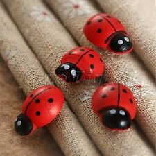 50pcs Wooden Ladybug 3D Stickers Scrapbooking Buttons Kids Easter Crafts Decor