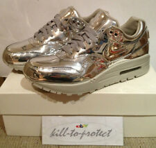 (USED) NIKE WMNS AIR MAX 1 LIQUID METAL SILVER US7.5 UK5 TZ 616170-090 Metallic