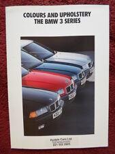 BMW SERIE 3 1991 mercato del Regno Unito Colori & Tappezzeria BROCHURE-E36