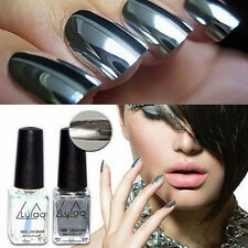 2pcs Silver Metal Mirror Effect Nail Art Polish Varnish & Base Coat DIY YK