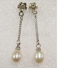35mm Fresh Water Real White Lilac Pink Pearl Flowergirl X'mas Dangle Earrings