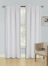 "2 PANEL SOLID  WHITE  BLACKOUT WINDOW CURTAIN ROD POCKET DRAPE R64 84"" L"