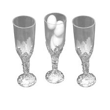 """24 Plastic cup candy holder favor 4"""" tall mini flute like shape - silver"""