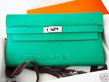 RARE Authentic NEW Hermes Kelly Long Wallet Menthe Mint Green Cherve Clutch PHW
