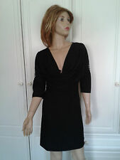 SWEEWE PARIS BLACK DRESS SZE M/L 14/16 DEEP V NECKLINE WITH DRAPING BUGLE BEADS