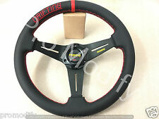 Flat 350mm Genuine Leather Low Dish Black Spoke Steering Wheel OMP NARDI SPARCO