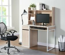 New Oak Finished Wooden Wood Metal Computer PC Laptop Desk Home Office Furniture