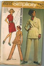 8914 Vintage Simplicity Sewing Pattern Misses Designer Fashion Dress Tunic Pants