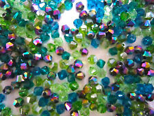 100 Austrian Crystal Glass Bicone Beads - Green Mix with Metalic Multi -4mm
