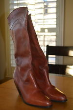 Steve Madden Amerillo Tall Natural Brown Leather Perforated Cowboy Boots 9