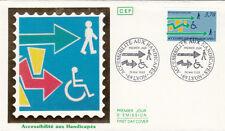 Enveloppe 1er Jour LYON 28/05/1988 accessibilité aux handicapés timbrée