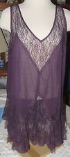 Dream Diva Sleeveless Purple Lacey Top Blouse Plus Size 16 NWT