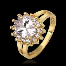 Ladies Jewelry 925 Sterling Silver Gold Fancy Up Rounded Zircon Women Ring