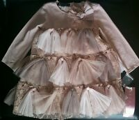 Baby Biscotti 24 months NWT girl pink brown pearls tulle bows dress sleeved lace