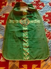 Antique 1900's Green Silk Damask Priest Fiddleback Vestment Embroidered Clothing