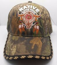Native Pride Buffalo Skull & Feathers Ball Cap Hat in Camo New H34