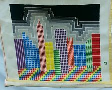 New York Skyline Empire State Rachel Finished Needlepoint Rainbow LGBT Pride