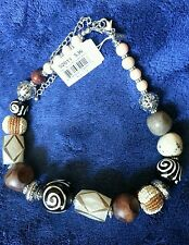 "New Cookie Lee Artisan Chunky Wood and glass Bead Statement Necklace  18""- 21"""