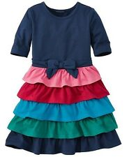 Hanna Anderson Girls Skater Dress With Ruffle Skirt Size 130 (7-10 Years)