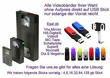 10 Cintas Hi8 Minidv digitalizar VHS-C en la MP4 Formato de 64gb Stick incl.