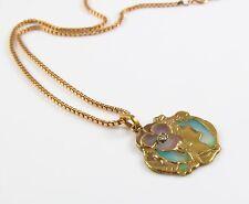 Art Nouveau 14k Gold Plique A Jour Enamel Woman Profile Diamond Pendant Necklace