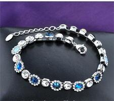 White Gold Plated High Quality Bracelet with Blue Swarovski Elements for Women
