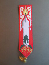 Vintage Berisford's Woven Bookmark CHRISTMAS 1998 Candle Holly Doves