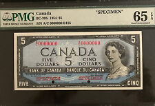 "1954 Bank of Canada $5 ""Specimen"" Note BC-39S Only 109 Sold by Bank of Canada"