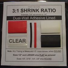 """1/4"""" CLEAR 4 Ft. Dual-Wall Adhesive Lined Heat Shrink Tubing 3:1 Ratio"""