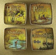 Wild Wings Lee Stroncek Complete Set of Four LODGE SERIES Mini Plates NIB