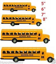 """4 PCS Yellow School Bus Diecast Model pull back action openable doors 5"""" 6"""" 7"""" 8"""