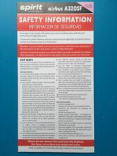 SPIRIT AIRLINES SAFETY CARD--AIRBUS 320SF --2015 NEWEST REVISION