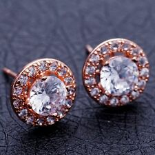 CLASSIC WEDDING GIFT ROSE GOLD Plated CLEAR Cubic Zircon Stud Earrings