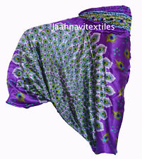 INDIAN BAGGY GYPSY HAREM PANTS SATIN YOGA MEN WOMEN MOR PRINT TROUSERS WE