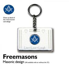 Masonic Blue with G Coin KEY RING Live Love Laugh Freemason Mason Present Gift