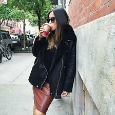 ZARA BROWN SOFT FAUX LEATHER MIDI SKIRT BLOGGER AIMEE SONG, SONG OF STYLE