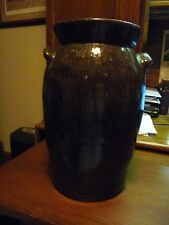 Fabulous Catawba Valley Pottery Churn/Crock C1900-1940 -3 Gal-Brown Glaze