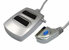 GC433 - 2WAY SILVER SWITCHED SCART SPLITTER BOX NICKEL PLUG