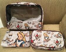 NWT DISNEY LOUNGEFLY ALICE IN WONDERLAND COSMETIC BAG TRAVEL POUCH 3 PIECE SET