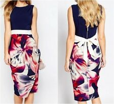 Closet 2 in 1 Pencil Dress with Navy Floral UK 10 US 6 EUR 38 (ca14)