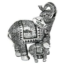 ORIENTAL SILVER ELEPHANT & BABY FIGURINE FIGURE ORNAMENT DECORATIVE GIFT BOX